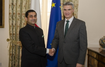 High Commissioner meeting the Minister of Foreign Affairs & Trade Promotion of Malta, H.E.Mr.Carmelo Abela