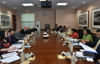 Bilateral talks between the External Affairs Minister, Smt.SushmaSwaraj, and Minister of Foreign Affairs and Minister of Foreign Affairs and Trade Promotion of Malta, Mr.CarmeloAbela, in New Delhi.