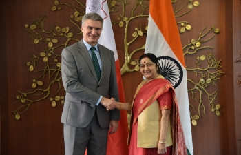 Smt.SushmaSwaraj, External Affairs Minister of India, and Minister of Foreign Affairs and Trade Promotion of Malta, Mr.CarmeloAbela, meeting in New Delhi (March 6, 2018).