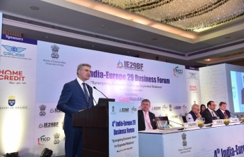 Minister of Foreign Affairs and Trade Promotion of Malta, Mr.CarmeloAbela, addressing the India-EU29 Business Summit, in New Delhi.