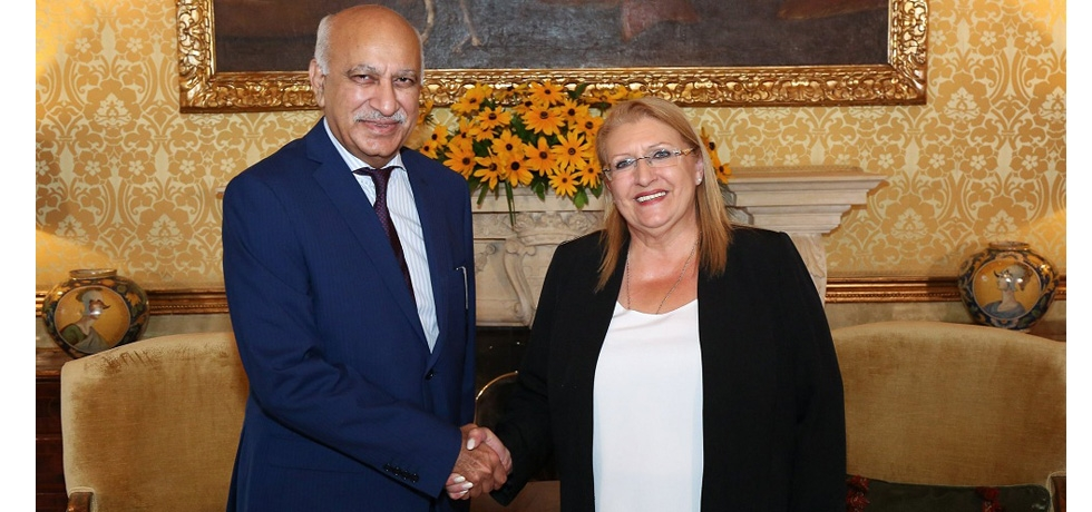 Minister of State for External Affairs H. E. Mr. M. J. Akbar calls on President of Malta  H. E. Marie-Louise Coleiro Preca  9 July 2018