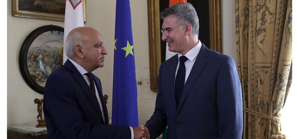 Minister of State for External Affairs H. E. Mr. M. J. Akbar meets Minister for Foreign Affairs and Trade Promotion of  Malta H. E. Mr. Carmelo Abela  9 July 2018