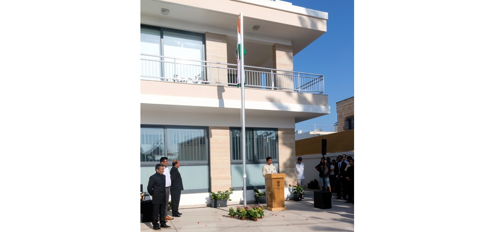 High Commissioner Shri Rajesh Vaishanaw reading out the address of the Hon'ble President of India to the nation during the celebrations of 72 nd Independence Day of India at High Commission of India in Malta.