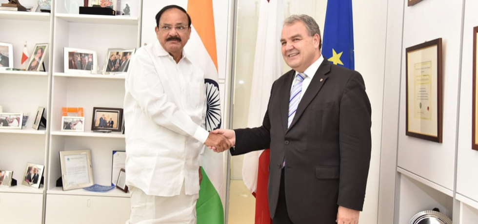 H.E. Vice President Shri M. Venkaiah Naidu meets H.E. Speaker of the House of Representatives of Malta Mr. Anġlu Farrugia.