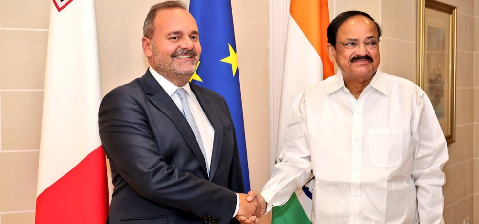 H. E. Vice President Shri M. Venkaiah Naidu meets H. E. Acting PM and Minister for the Economy, Investment and Small Businesses of Malta Dr. Christian Cardona.