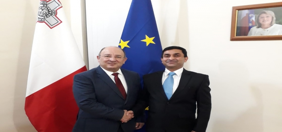 High Commissioner H. E. Mr. Rajesh Vaishnaw meeting Minister for Home Affairs and National Security of Malta H. E. Dr. Michael Farrugia