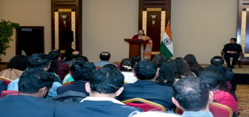 H.E.  Speaker  of  Lok  Sabha  Smt.  Sumitra  Mahajan  addressing  the  Indian  community  members  during  her  visit  to  Malta