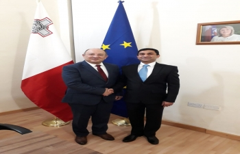 High Commissioner H. E. Mr. Rajesh Vaishnaw meeting Minister for Home Affairs and National Security of Malta H. E. Dr. Michael Farrugia on 07 January 2019
