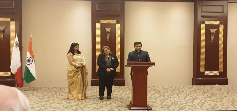 High Commissioner Shri Rajesh Vaishnaw addressing the guests at the reception on the occasion of the Republic Day 2019. The occasion was graced by H. E. President of Malta Ms. Marie-Louise Coleiro Preca as the Chief Guest.