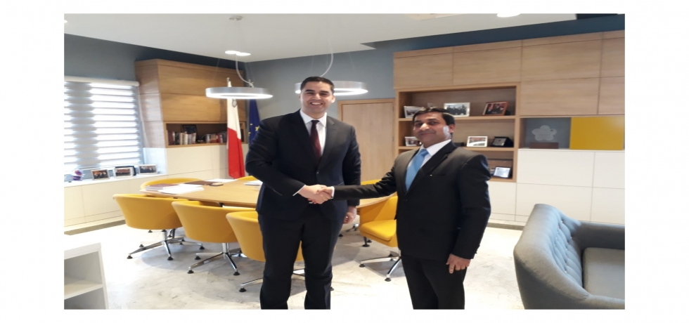 High Commissioner Shri Rajesh Vaishnaw meeting Dr. Ian Borg, Minister for Transport, Infrastructure and Capital Projects of Malta on 11 February 2019