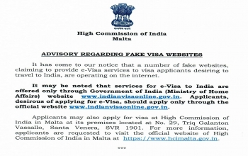 Advisory on Fake online e-Visa websites