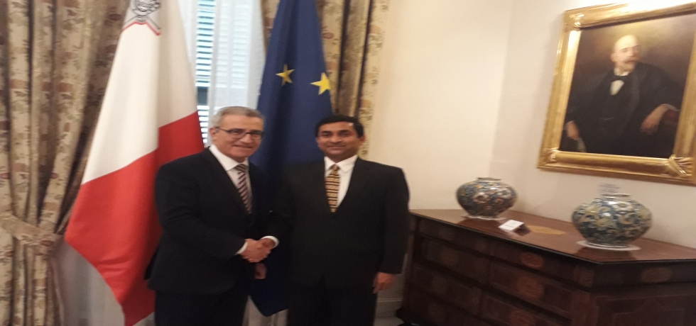 H. E. High Commissioner Shri Rajesh Vaishnaw meeting H. E. Minister for Foreign and European Affairs of Malta Mr. Evarist Bartolo