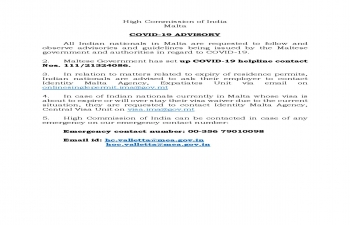 UPDATED COVID-19 ADVISORY FOR INDIAN NATIONALS IN MALTA