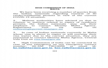 Advisory for Indian Nationals regarding renewal of Residence Permit/Extension of Visa