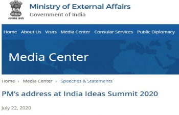 Hon'ble Prime Minister's address at India Ideas Summit 2020