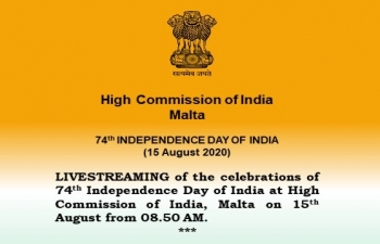 Livestreaming of the Celebrations of 74th Independence Day Of India on 15th August from 08.50 AM onward