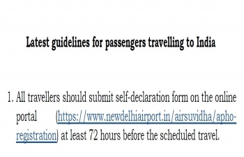 Latest guidelines for passengers travelling to India
