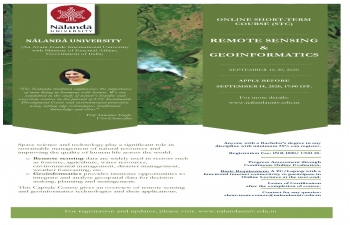 Nalanda University Online Short Term Course on Remote Sensing & Genoinformatics from 16th to 30th September 2020.