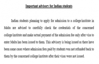 Important Advisory for Indian Students