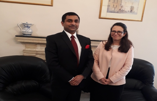 High Commissioner meeting with the Permanent Secretary of the Ministry for Foreign Affairs & Trade Promotion of Malta, H.E.Ms.Fiona Formosa, on 23-01-2018