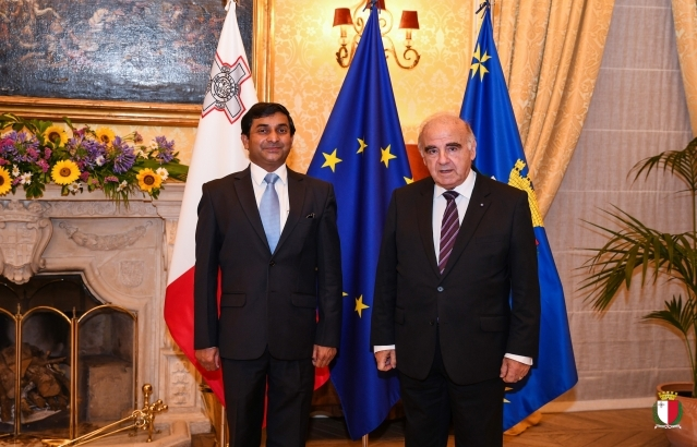 H. E. High Commissioner Shri Rajesh Vaishnaw meeting H. e. President of Malta Dr. George Vella on 7 July 2020